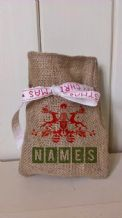 Personalized Two reindeers Small Father Christmas Xmas Santa Sack / Stocking Bag Jute Hessian